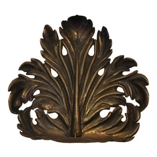 Casagrande Borgo Valsugana Brass Palm Frond Leaf Made in Italy V Wall Candle Sconce For Sale