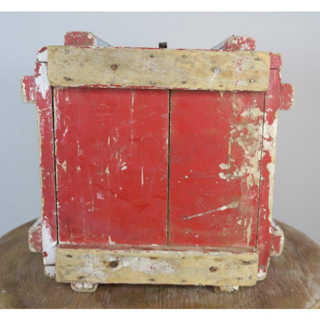 Painted Wood Work Box W/ Metal Clasp and Handles For Sale - Image 12 of 13