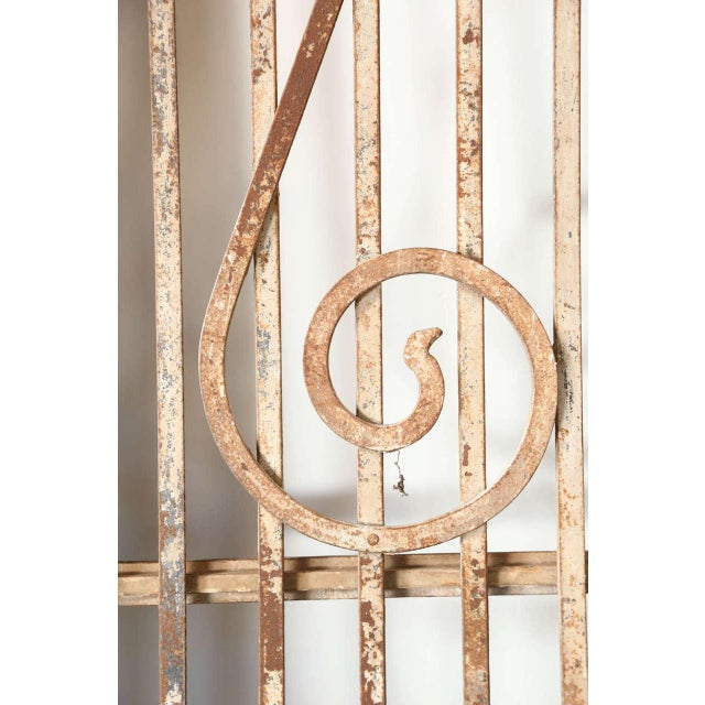 Brass Set of French Painted Double Entry Door With Iron Insert For Sale - Image 7 of 11