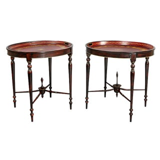 Matched Pair of Regency Red Tole Tray Tables For Sale