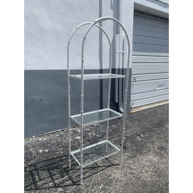 Metal Vintage Chinoiserie Faux Rattan Etagere With Glass Shelves For Sale - Image 7 of 7