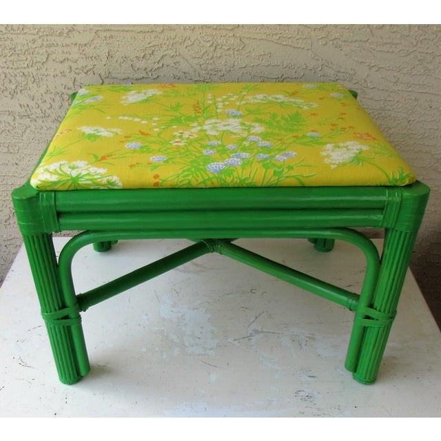 Mid-Century Green Rattan Footstool - Image 2 of 8