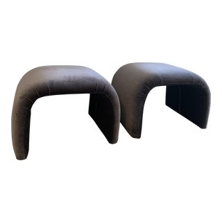 Karl Springer Style Mid Century Modern Grey Velvet Waterfall Benches- a Pair For Sale