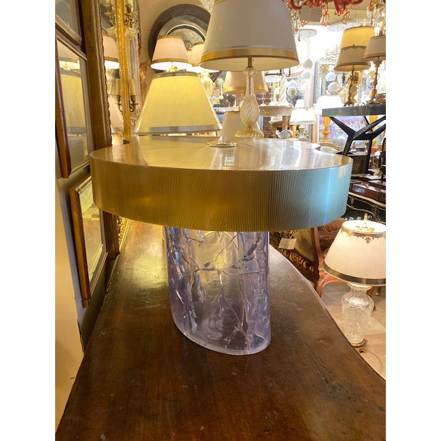 Metal 1960s Mid-Century Modern Acrylic and Brass Curved Coffee Table For Sale - Image 7 of 12