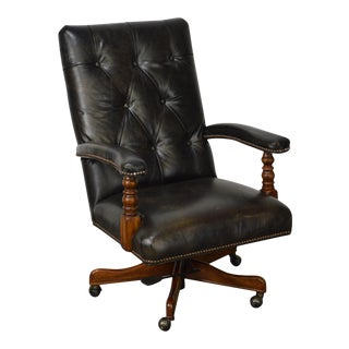 Hooker Seven Seas Tufted Leather Office Arm Chair For Sale