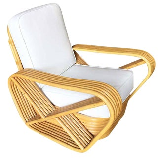 Restored Paul Frankl Style Six-Strand Square Pretzel Rattan Lounge Chair For Sale