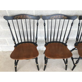 L. Hitchcock Windsor Fan Top Black Harvest Maple Side Chairs - Set of 6 Preview