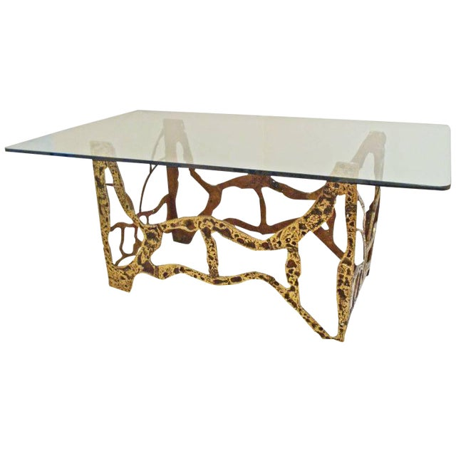 Mid-Century Modernist Dining Table in Sand Cast Bronze and Glass, Usa Circa 1975 For Sale