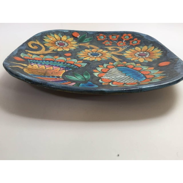 Folk Art Hand-Painted Charger by Master Potter Marjatta Taburet Quimper France Circa 1960 For Sale - Image 3 of 10