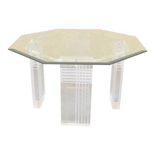 Small Glass-Top Lucite End Table For Sale