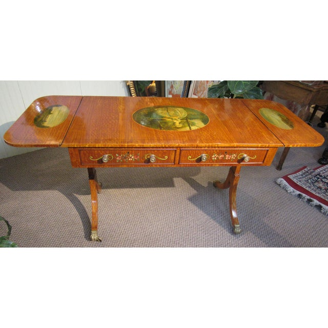 Brown 19th Century Adams Style Handpainted Satinwood Two Drawer Sofa Table For Sale - Image 8 of 13