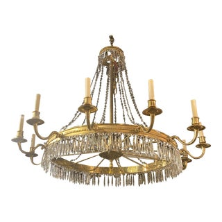1940's French Gilt Bronze Chandelier For Sale