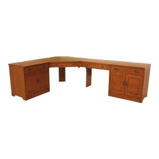 Mission Stickley 4 Piece Oak Corner Desk Unit For Sale