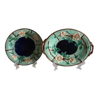 Antique English Majolica Platters - a Pair