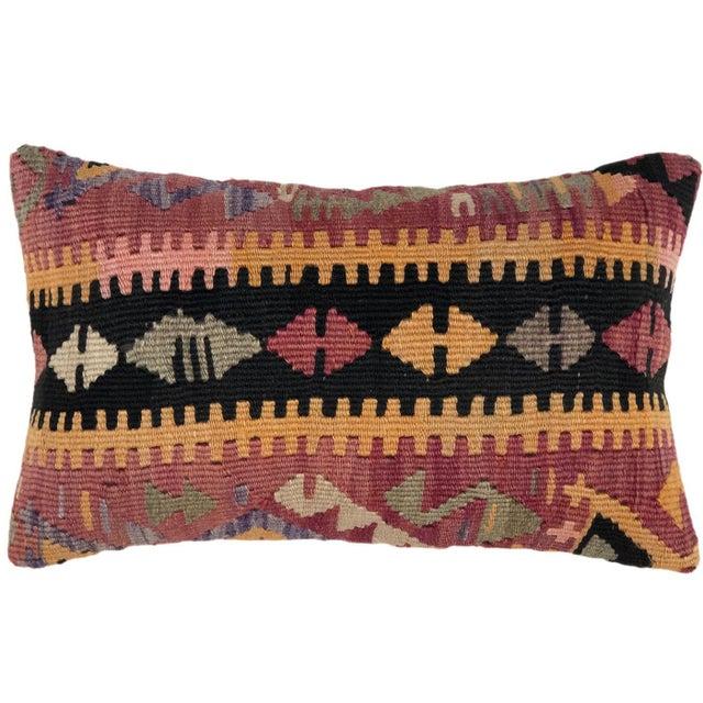 "Mid-Century Modern Boho Kilim Lumbar Pillow | 12 X 20"" For Sale - Image 3 of 3"