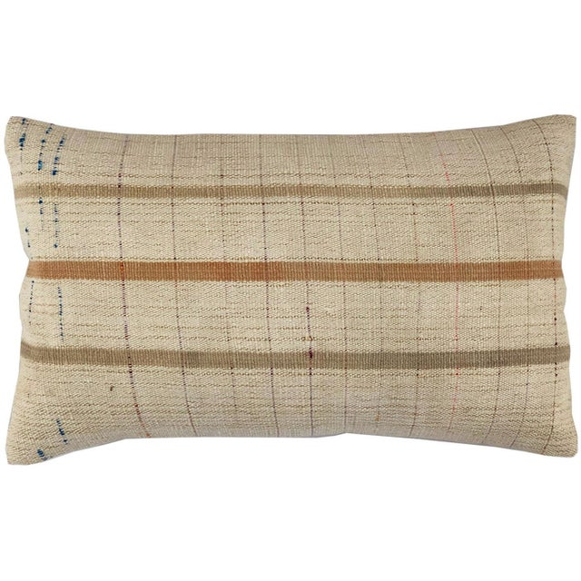 """Mid-Century Modern Muted Mid-Century Kilim Pillow   12"""" X 20"""" For Sale - Image 3 of 3"""