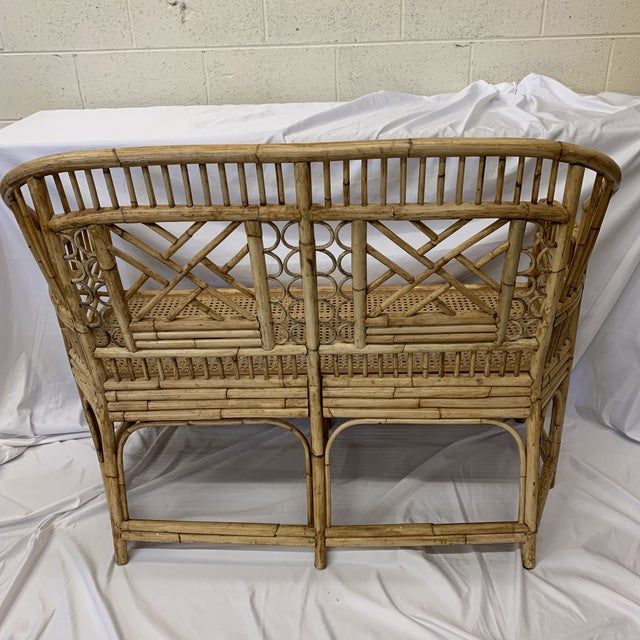 Bamboo Chinese Chippendale Brighton Style Bamboo Bench For Sale - Image 7 of 12