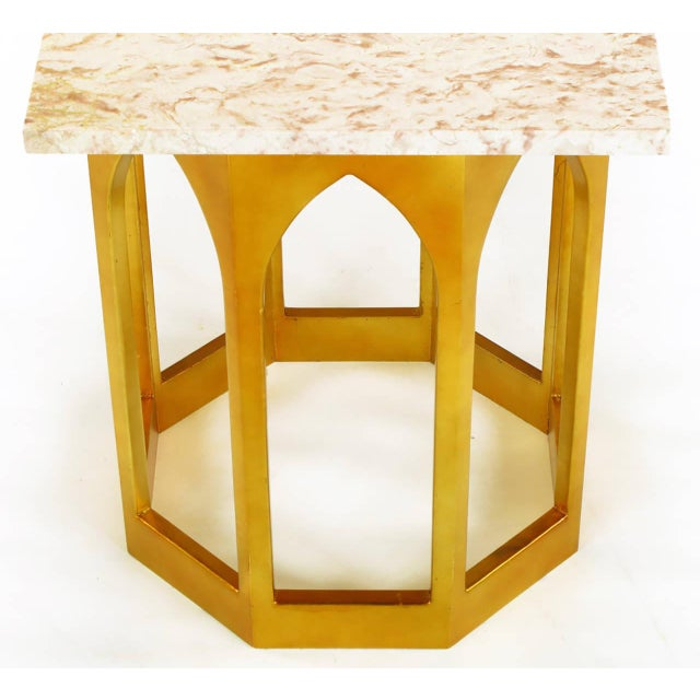 Marble Top Console Table with Twin Gilt Octagonal Bases - Image 2 of 7
