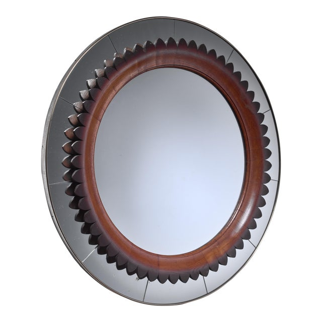 Large (104 CM/41 Inch) Italian Wood and Brass Mirror, 1940s For Sale