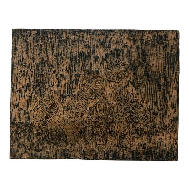 Handmade Wood Block Mushroom Art For Sale