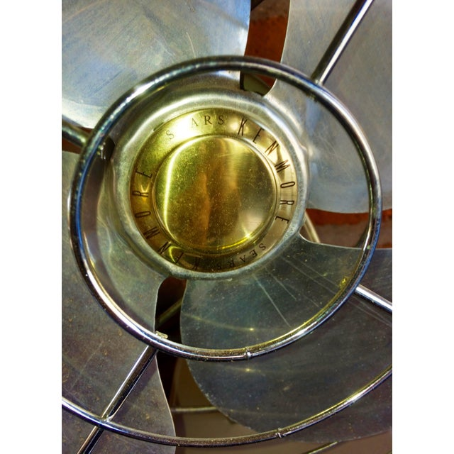 Industrial Vintage Mid-Century Sears Electric Table Fan For Sale - Image 3 of 7