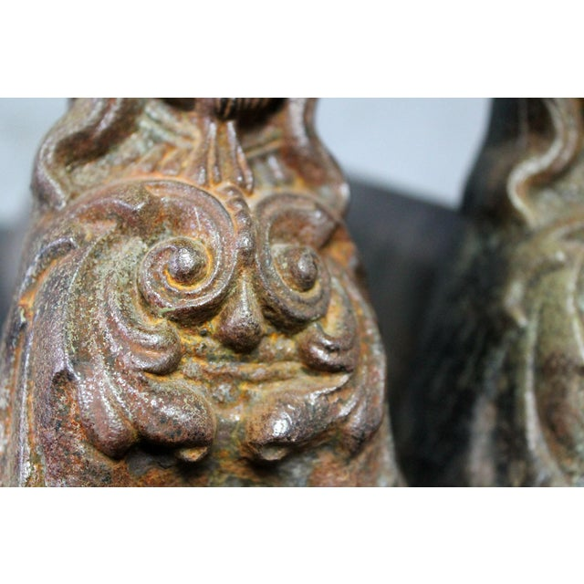 Antique French Cast Iron Female Figural Andirons or Firedogs - Pair For Sale - Image 6 of 11