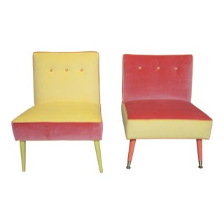 Vintage Juxtaposition Coral and Yellow Slipper Chairs- A Pair For Sale