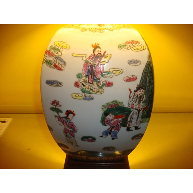 Chinese Export Porcelain Painted Ginger Jar Table Lamps- A Pair - Image 7 of 10