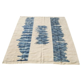 "Persian Ivory and Blue Wool Modern Baneh Kilim Rug - 7'8"" X 10'1"" For Sale"