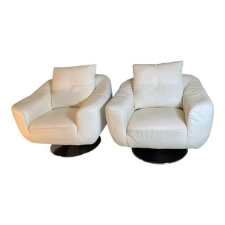 White Faux Leather Swivel Chairs- A Pair For Sale