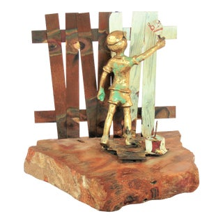 Mid Century Bijan Bronze Copper Boy Painting Fence Sculpture Signed For Sale