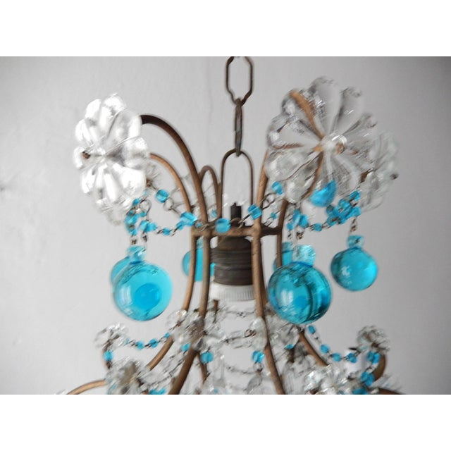 1920s 1920s French Blue & Clear Murano Drops Crystal Giltwood Chandelier For Sale - Image 5 of 13