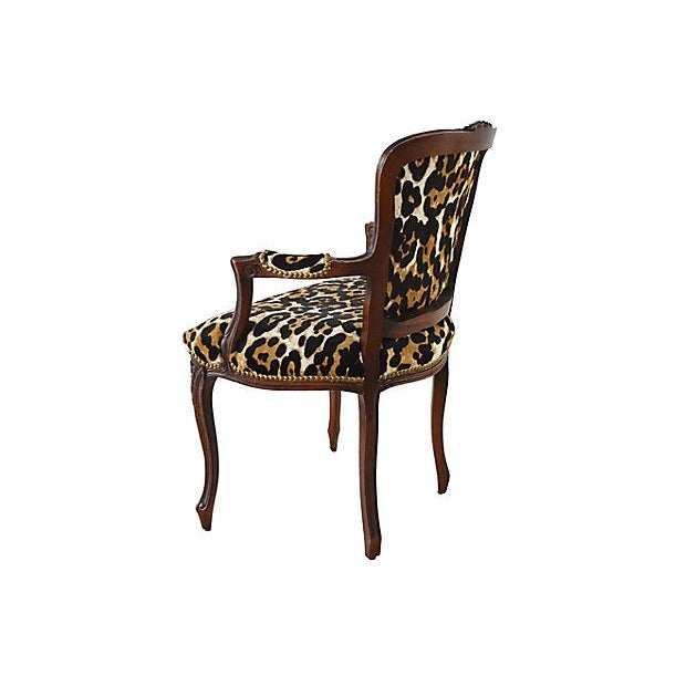 Metal Carved Armchair W/ Cowhide Animal Spots For Sale - Image 7 of 12
