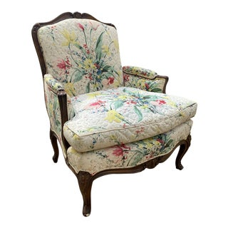 1960s Custom Upholstered Louis XV Style Bergere Chair For Sale