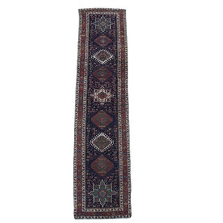 "Antique Karaja Persian Navy Teal Rust Wool Runner Rug - 13'9"" X 3'3"" For Sale"
