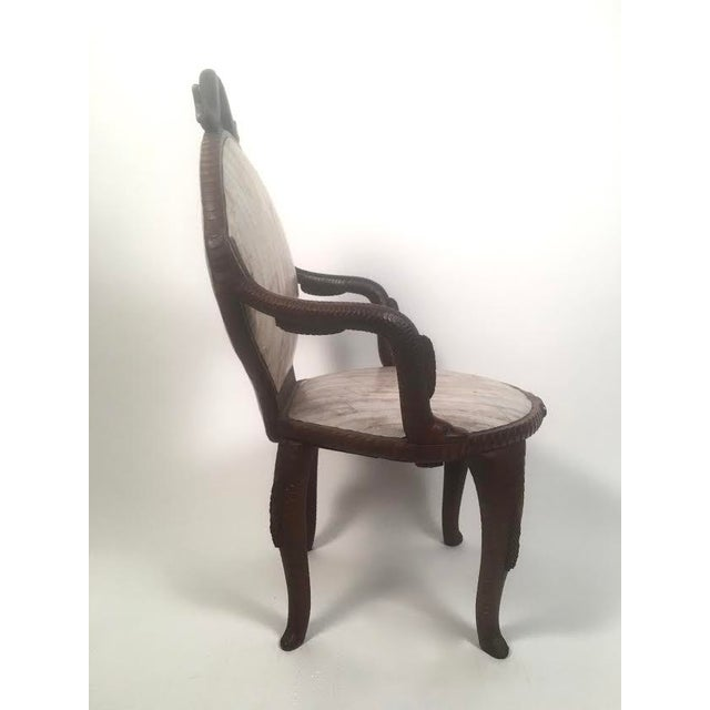 19th Century Fish Carved Arm Chair with Eel Skin Upholstery - Image 9 of 11