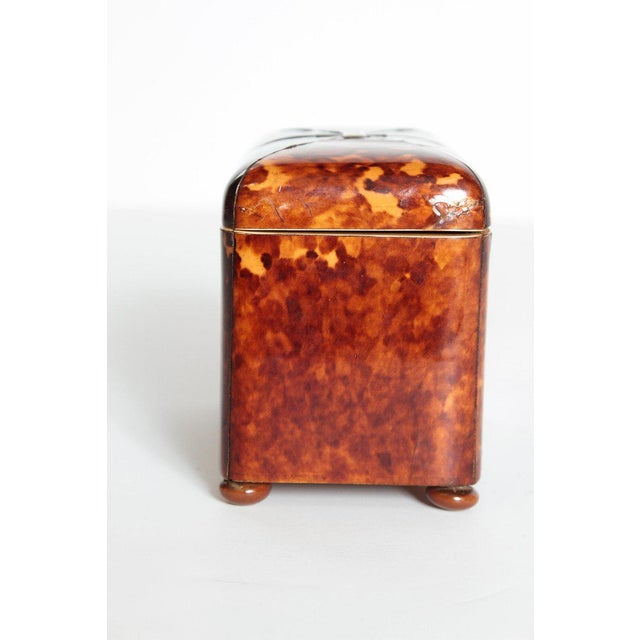 Early 19th Century English Regency Tortoiseshell Tea Caddy For Sale - Image 4 of 13