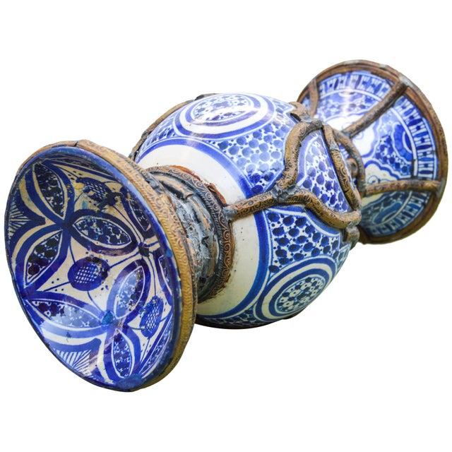 Blue Ceramic Vase W/ Fine Brass Filigree For Sale - Image 9 of 10