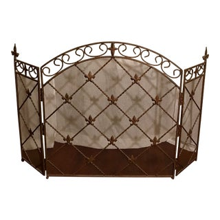Antique French Wrought Iron Arched Fleur De Lis Folding Three Panel Fireplace Screen For Sale