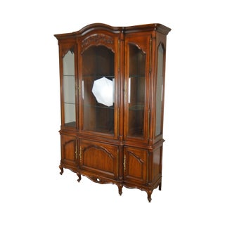 Century French Louis XV Style Cherry Fruitwood Breakfront China Cabinet For Sale