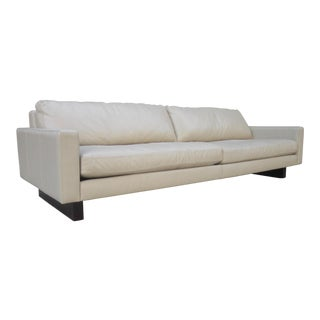 """Room and Board Hess Ivory Leather Modern Sofa 102"""" Vintage Mid Century Style For Sale"""