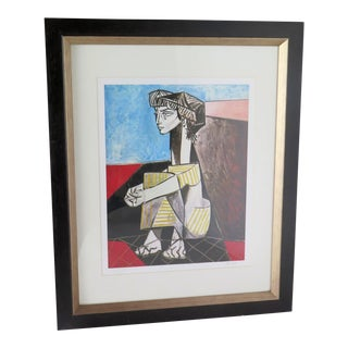 Jackqueline W/Joined Hands Print by Pablo Picasso For Sale