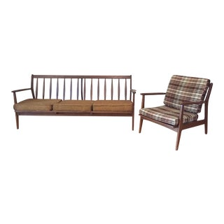 Ethan Allen for Baumritter Danish Style Mid-Century Modern Chair and Sofa Set