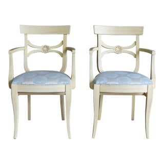 Late 20th Century Vintage French Regency Dining Arm Chairs- A Pair For Sale