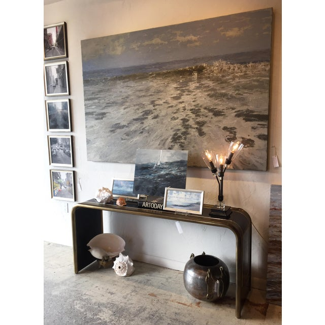 This 72 x 48 in. contemporary seascape evokes movement and light. Feel the tide? Trish Beckham is a master of palette...