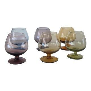 Late 20th Century Multicolor Hand Blown Glass Liquor Glasses - Set of 6 For Sale