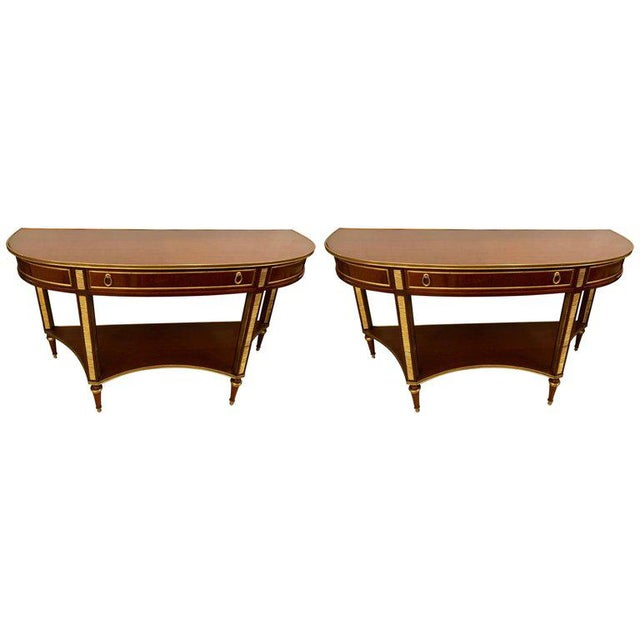 Demilune Mahogany Bronze Mounted Russian Neoclassical Consoles - a Pair For Sale - Image 10 of 10