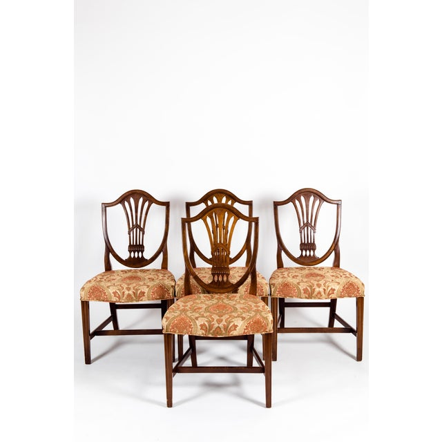 Solid Mahogany Wood Shield Back Dining Chairs - Set of 4 For Sale - Image 4 of 13