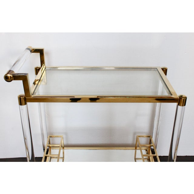 Contemporary Vintage Hollywood Regency Lucite Bar Cart For Sale - Image 3 of 6