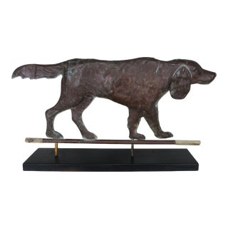 Vintage Copper Dog Weathervane Mounted on Iron & Wood Base For Sale